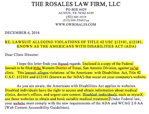 Letter from ADA Attorney